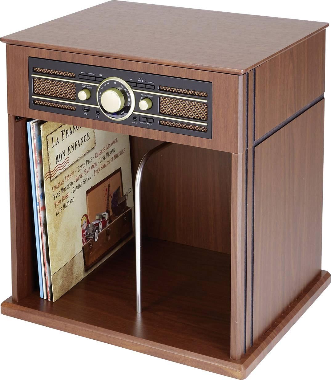 Skříňový USB gramofon s rádiem BigBen Interactive TD104, s dálk. ovladačem, řemínkový pohon, dřevo