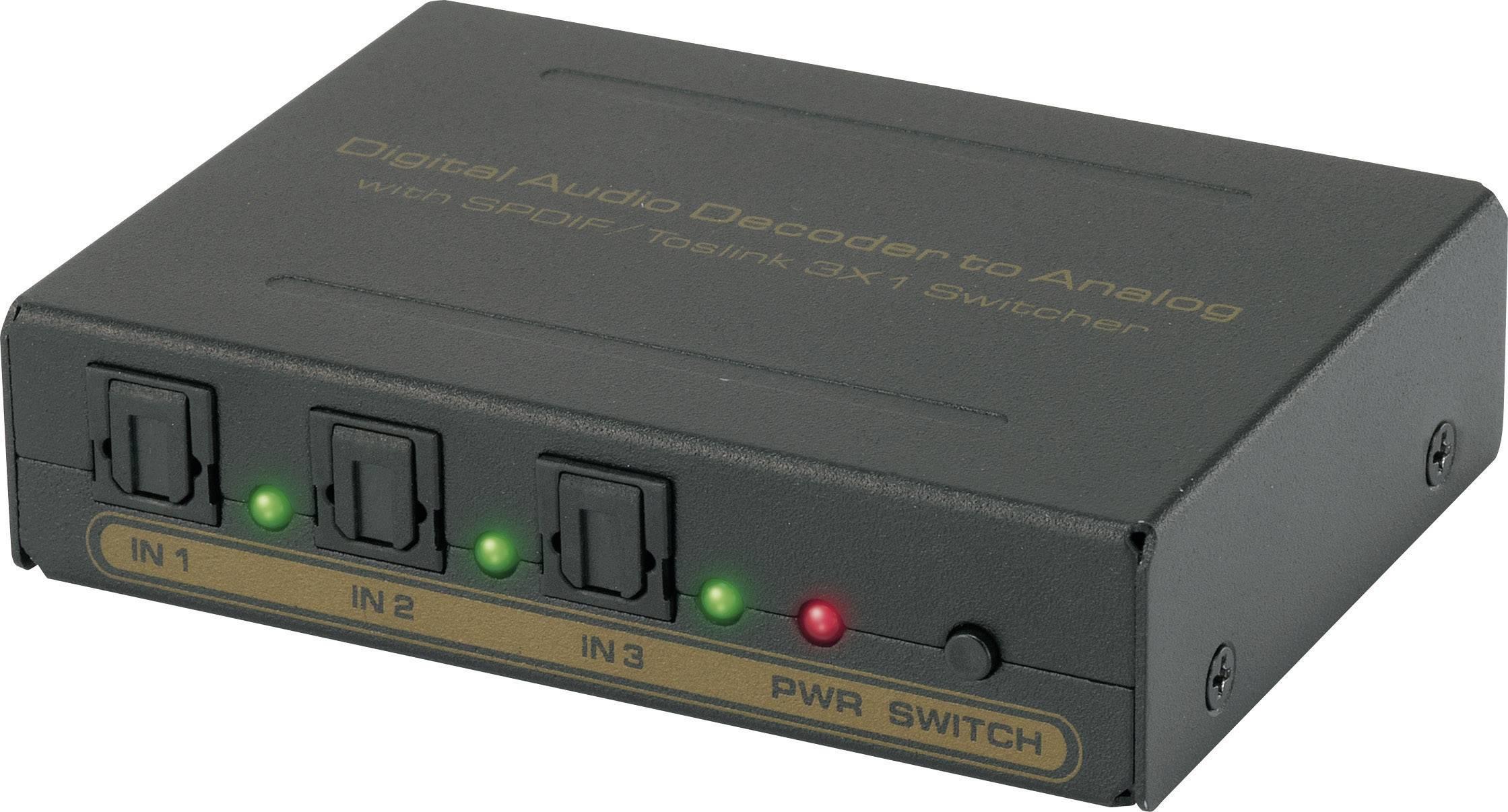 Switch Toslink s konvertorom SpeaKa, 3x port, čierna