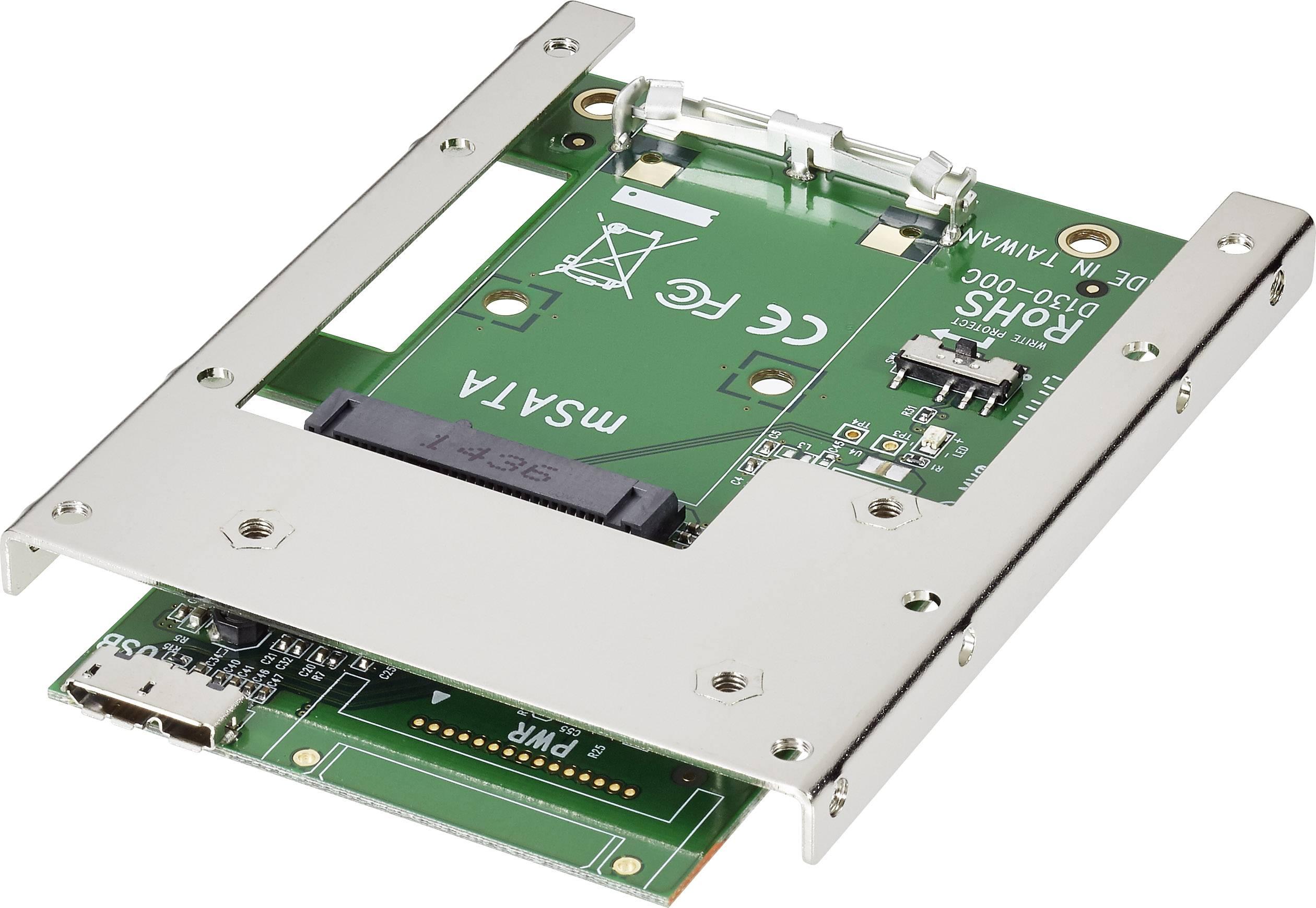 Konvertor rozhrania Renkforce 28554C163 RF-2000362, [1x mini SATA zástrčka - 2x micro USB 3.0 zásuvka B]