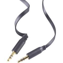 Prepojovací audio kábel SpeaKa, plochý, čierna, 2 m
