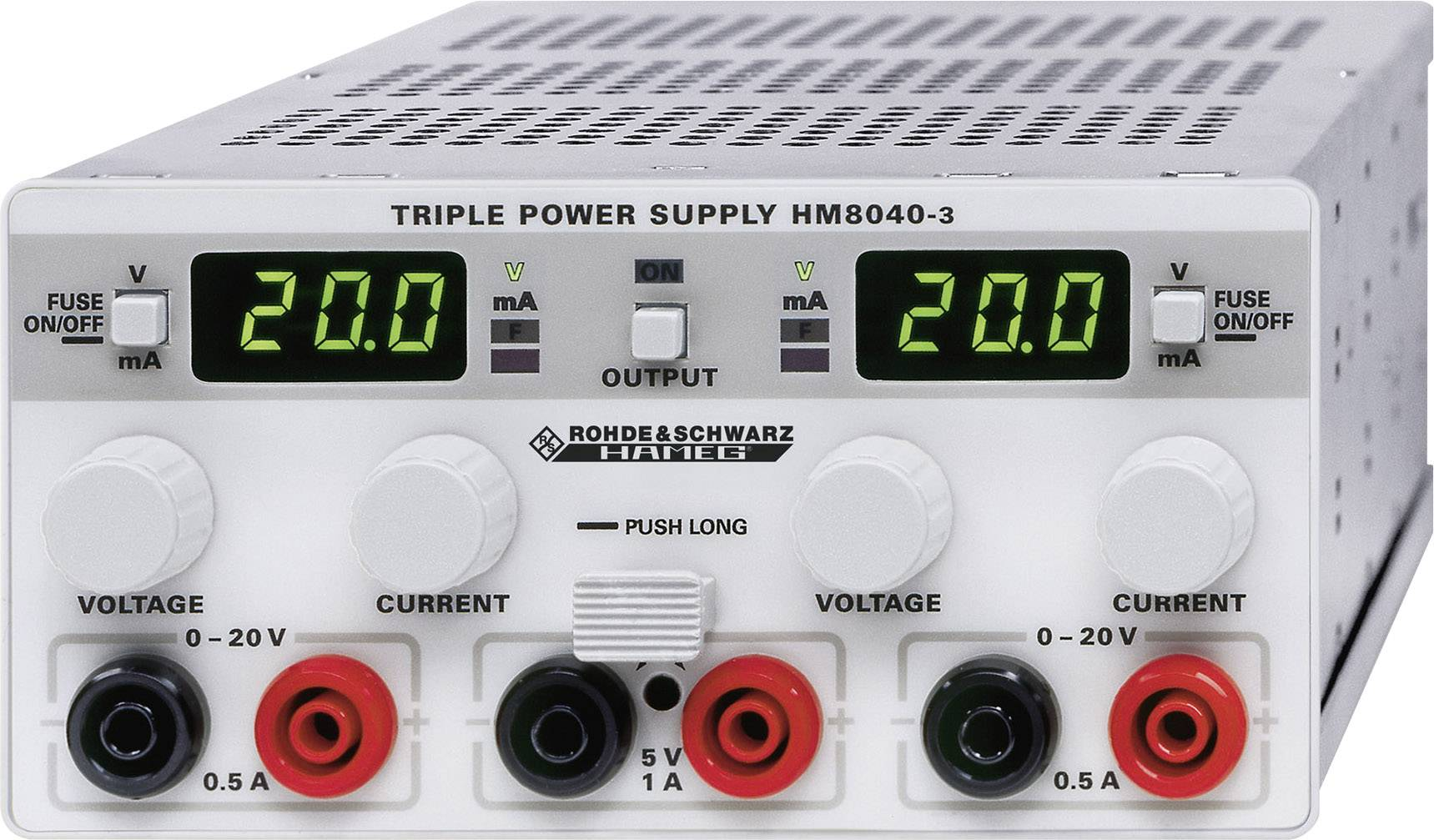 Laboratórny sieťový zdroj Hameg HM 8040-3, 0 - 20 V/DC, 0 - 0,5 A