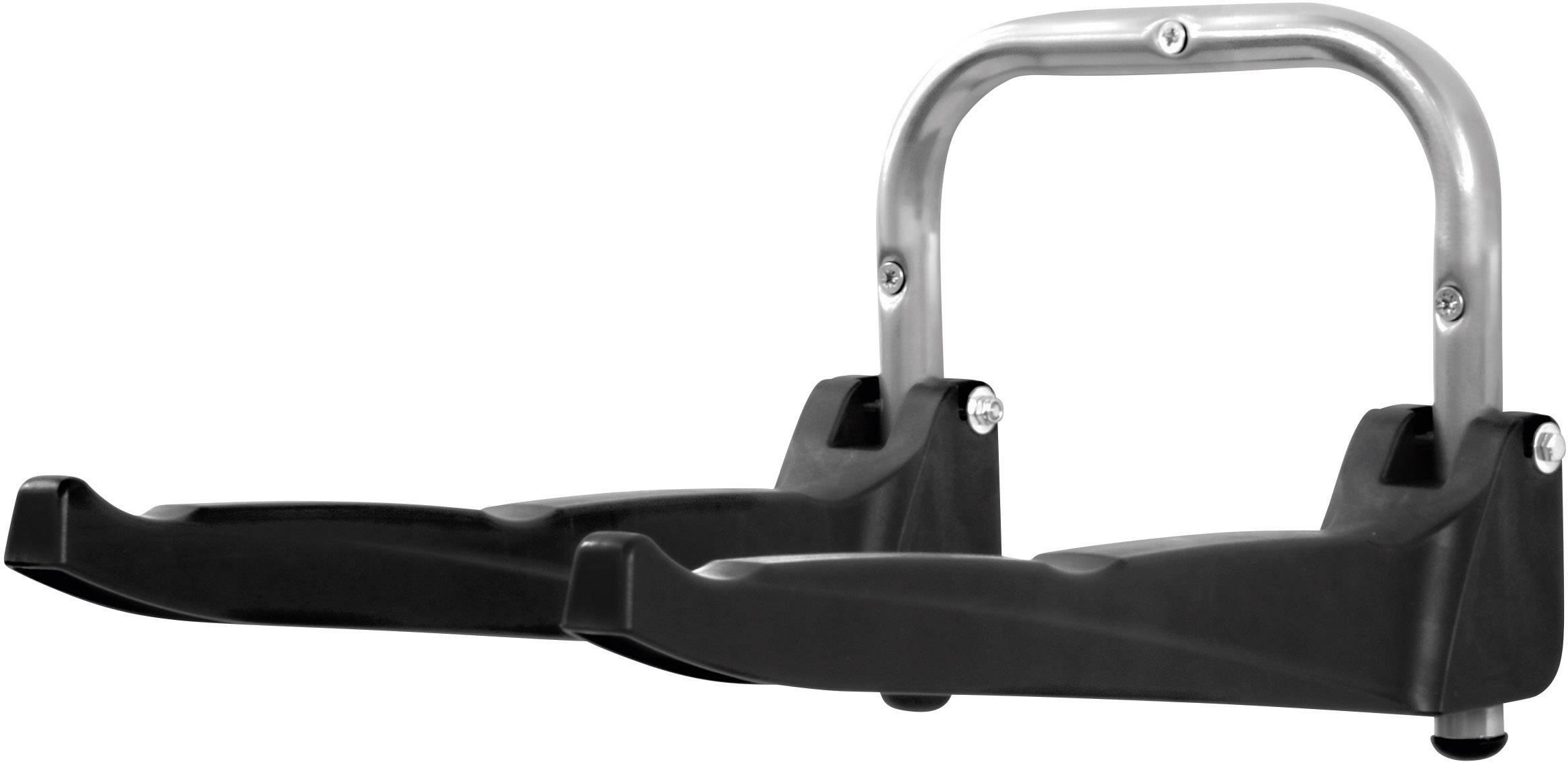 Nástěnný držák na jízdní kolo, sklopný 000371, hliník, plast, stříbrnočerná