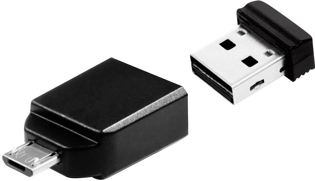 USB paměť pro smartphony/tablety Verbatim Nano Store N GO, 16 GB, USB 2.0, microUSB 2.0, černá
