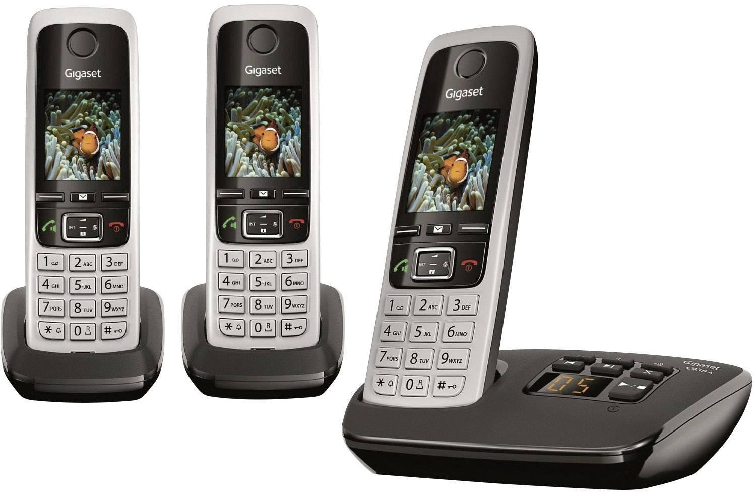 Bezdrátový analogový telefon Gigaset C430A Trio, stříbrná, černá