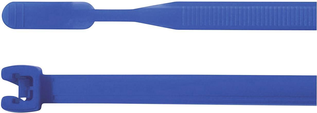 Kabelska vezica Q-Tie (D x Š) 420 mm x 7.7 mm Q120R-PA66-BU-C1 modra, 100 kosov, HellermannTyton