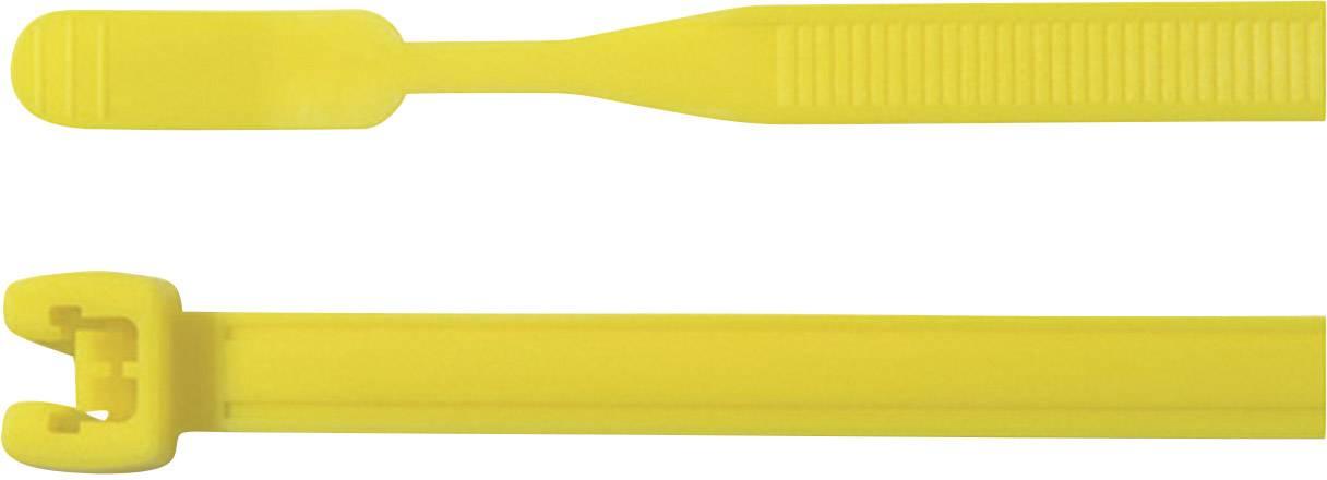 Stahovací pásky Q-serie HellermannTyton Q50R-PA66-YE-C1, 210 x 4,7 mm, 100 ks, žlutá