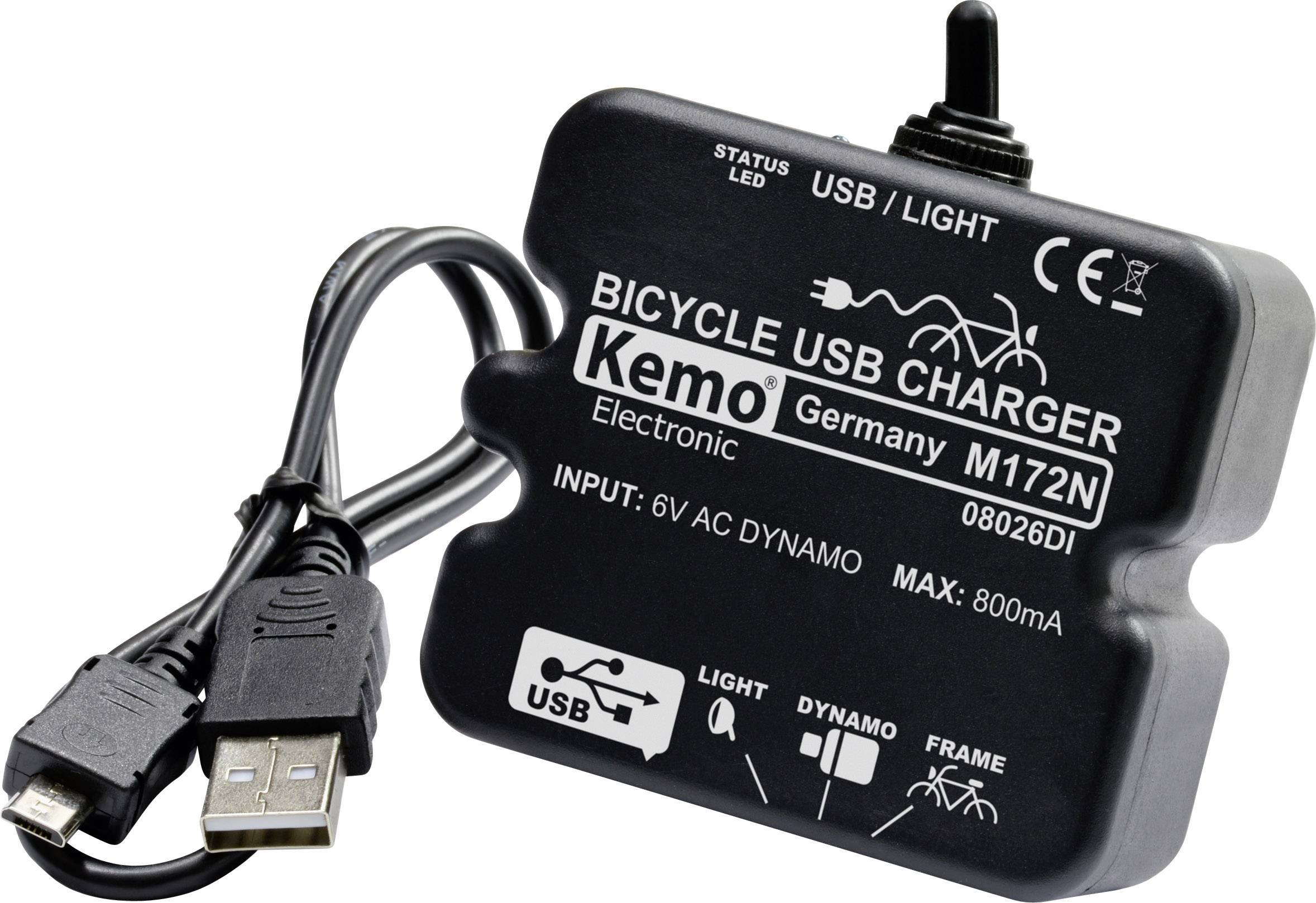 Nabíjacie dynamo na bicykel s USB Kemo M-172N - USB, čierna