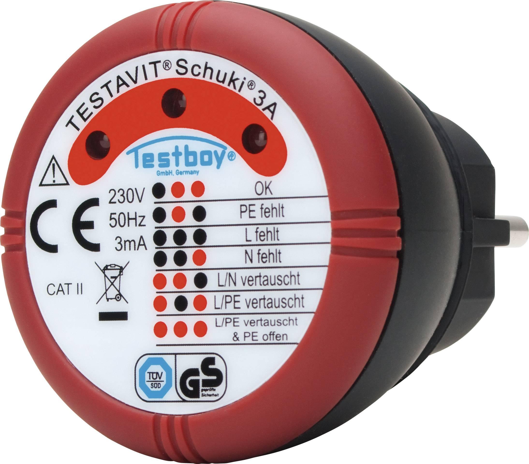 Tester zásuvek Testboy Schuki® 3A 230 V/AC Doutnavky