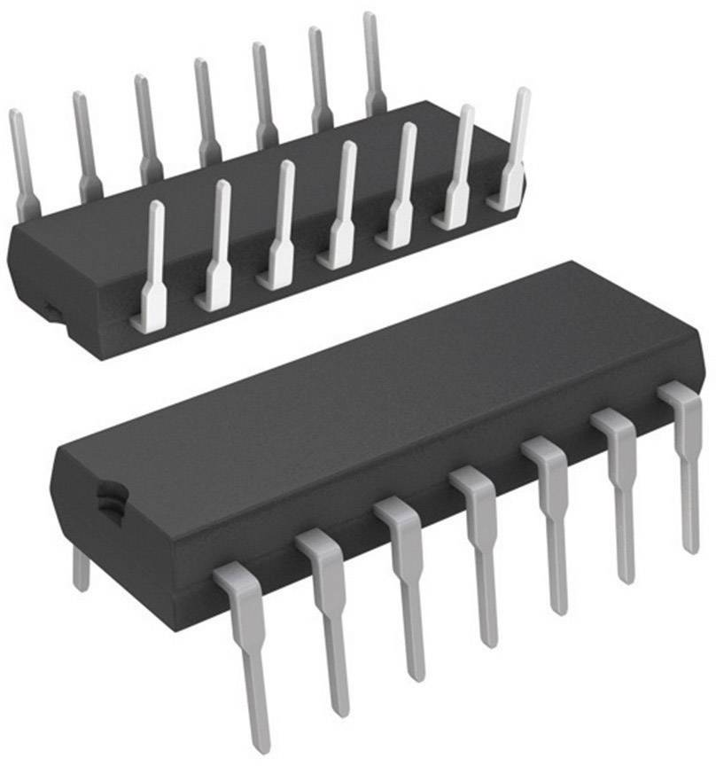 IO analogový spínač Texas Instruments CD74HC4066E, 2 V - 10 V, odpor (stav ZAP.)2.3 Ohm, PDIP-14 , TID