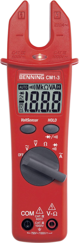 Klešťový ampérmetr Benning CM 1-3, 0,1 Ω - 20 MΩ