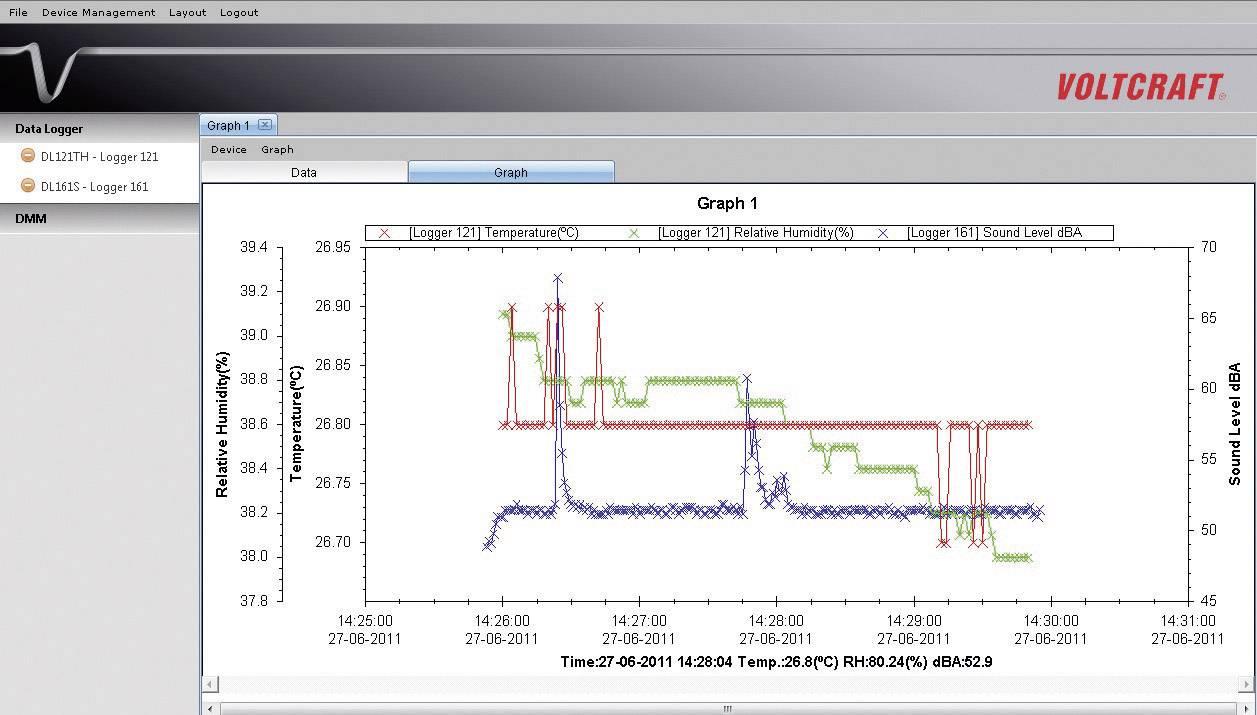 Teplotný datalogger Voltcraft DL-111K USB, typ K