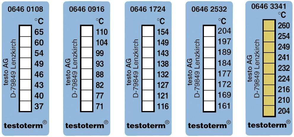 Meracie prúžky testo testoterm, +204 až +260 °C