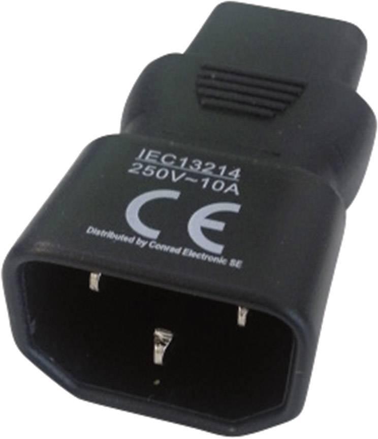 Sieťový adaptér IEC C13 zásuvka 10 A - IEC C14 zástrčka 10 A počet kontaktov: 2 + PE, čierna, 1 ks