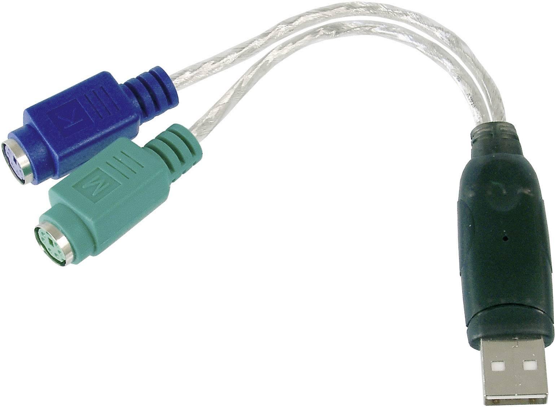 USB / PS/2 kábel klávesnica / myš Digitus DA-70118, 0.10 m, priehľadná