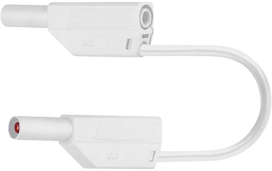Merací kábel banánik 4 mm ⇔ banánik 4 mm Multicontact SLK425-E, 0,25 m, biela