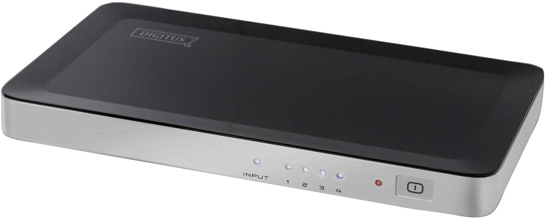 HDMI rozbočovač Digitus DS-42300, N/A, možnost 3D přehrávání, 4 porty, černá, stříbrná