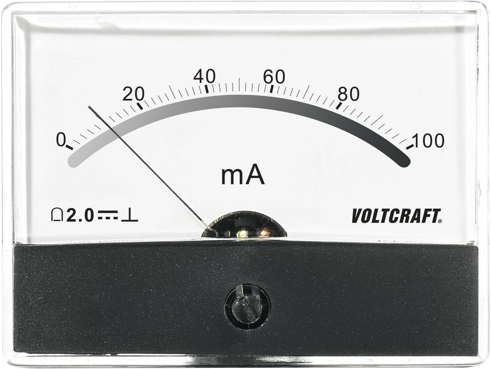 Panelové meradlo Voltcraft AM-86X65, 100 mA
