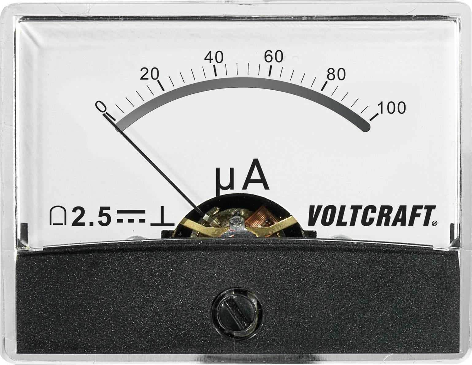 Panelové meradlo Voltcraft AM-60x46, 100 uA/DC