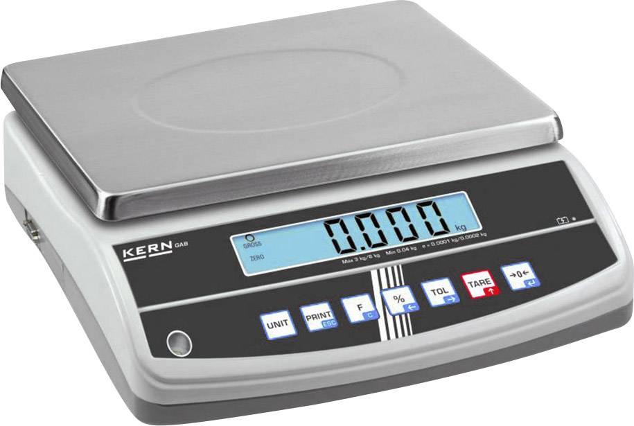 Stolní váha Kern Max. váživost 6 kg Rozlišení 0.05 g stříbrná Kalibrováno dle ISO