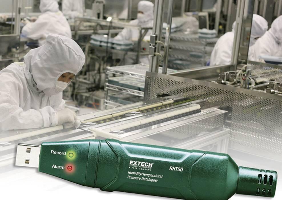 Teplotný, vlhkostný a tlakový datalogger Extech RHT50