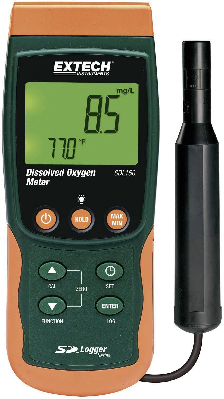 Merač množstva kyslíka v kvapalinách Extech SDL150, ukladanie dát na SD kartu