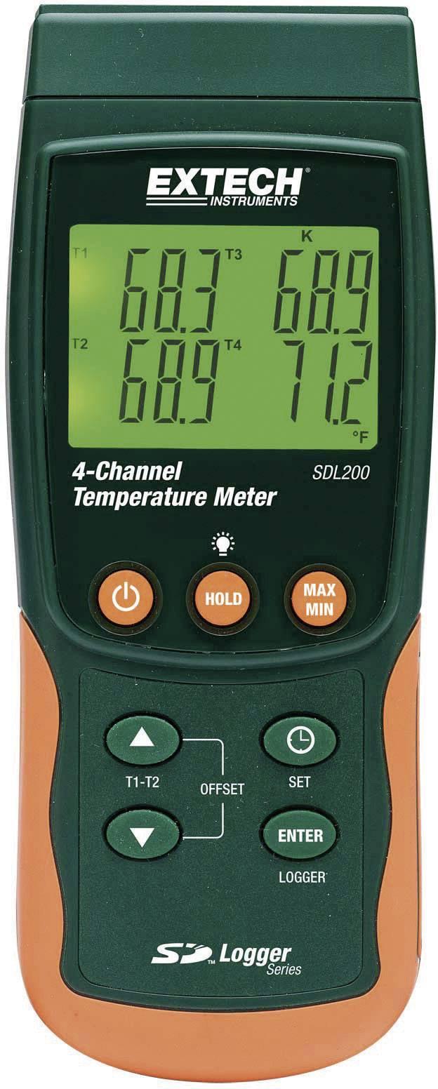 Dvoj/štvorkanálový teplomer Extech SDL200, datalogger, SD karta, -199 až +1700 °C