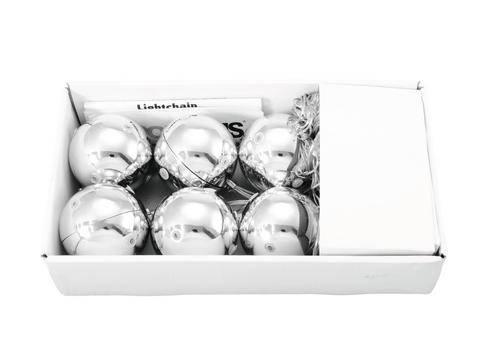 Vianočné gule LED dekoratívne osvetlenie teplá biela LED Europalms 83500910 strieborná