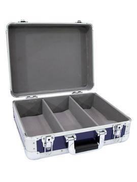 Hliníkový kufor na CD Digital-Booking, zaoblené rohy, modrá