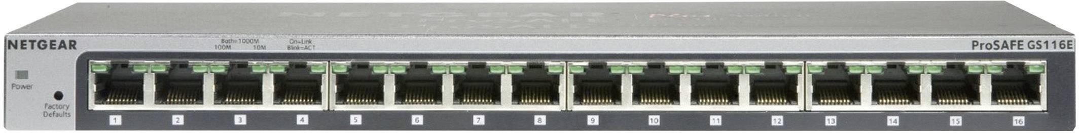 Síťový switch NETGEAR, GS116E, 16 portů, 1 Gbit/s