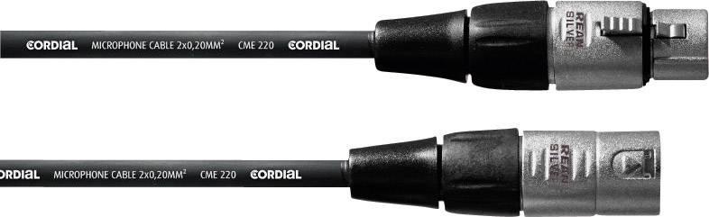 Mikrofónny kábel Cordial REAN XLR-F / XLR-M 1 m 1 m čierna XLR (F) / XLR (M)