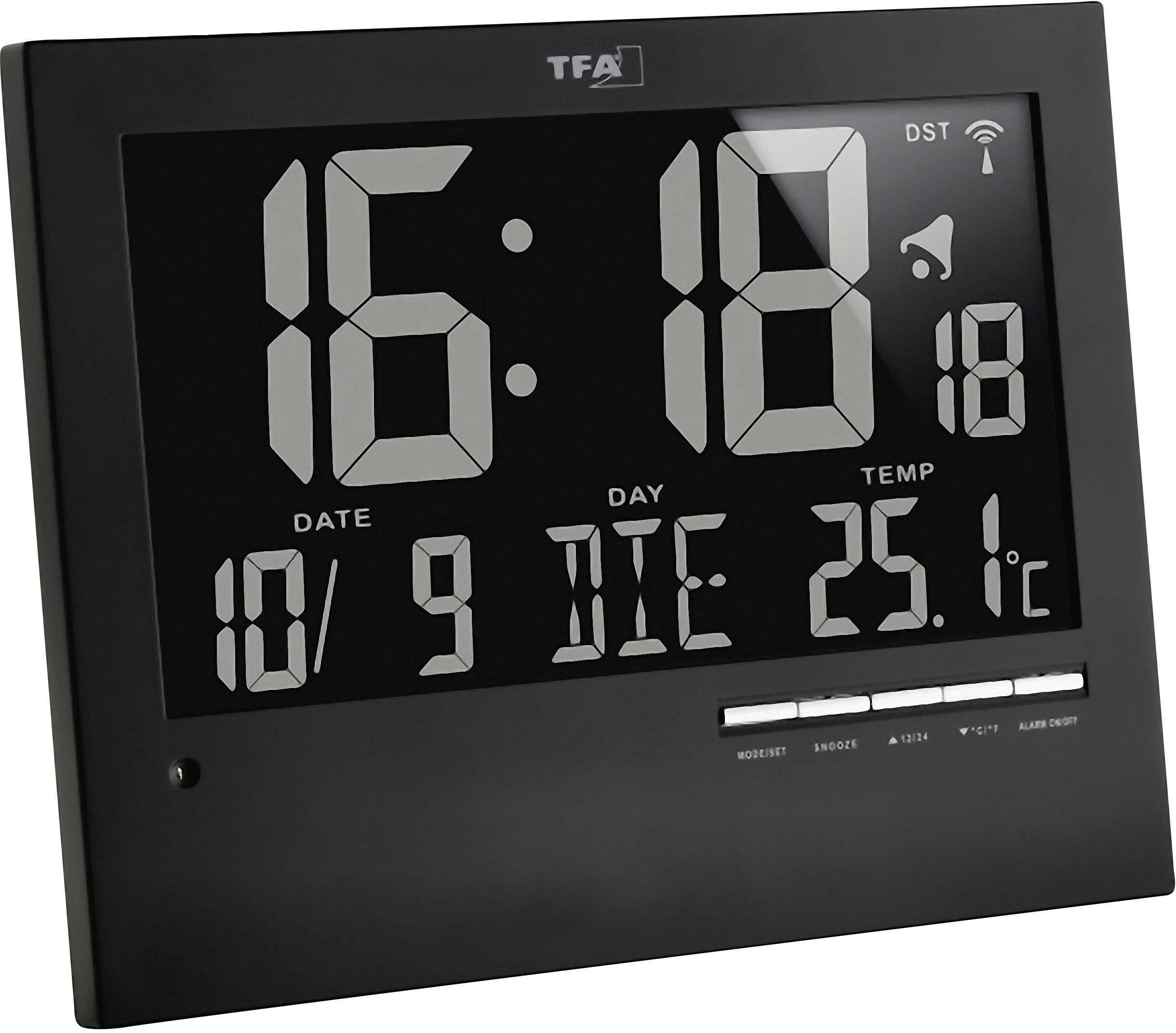 DCF nástenné hodiny TFA 60.4508 60.4508, čierna