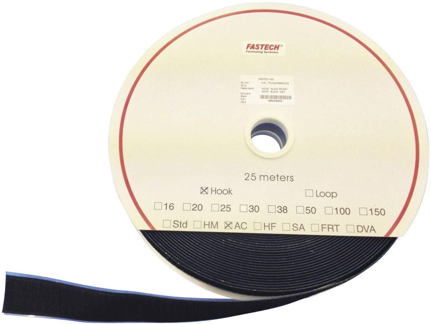 Samolepicí páska na suchý zip (háčky) Fastech T0102599990225, 25 m x 25 mm, černá, 25 m