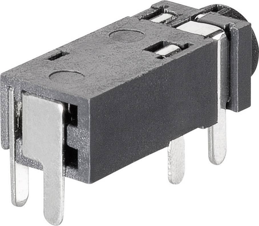 Jack konektor 2,5 mm stereo BKL 1109202, zásuvka vestavná horizontální, 4pól.