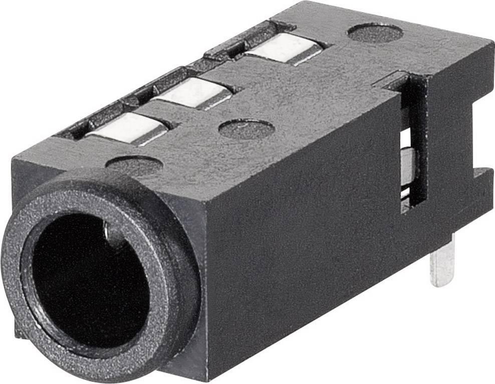 Jack konektor 3,5 mm stereo BKL 1109300, zásuvka vestavná horizontální, 4pól.