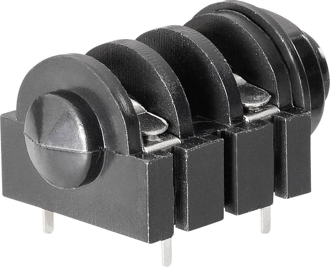Jack konektor 6.35 mm čiernobiela zásuvka, vstavateľná horizontálna BKL Electronic 1109022, pinov 2, 1 ks