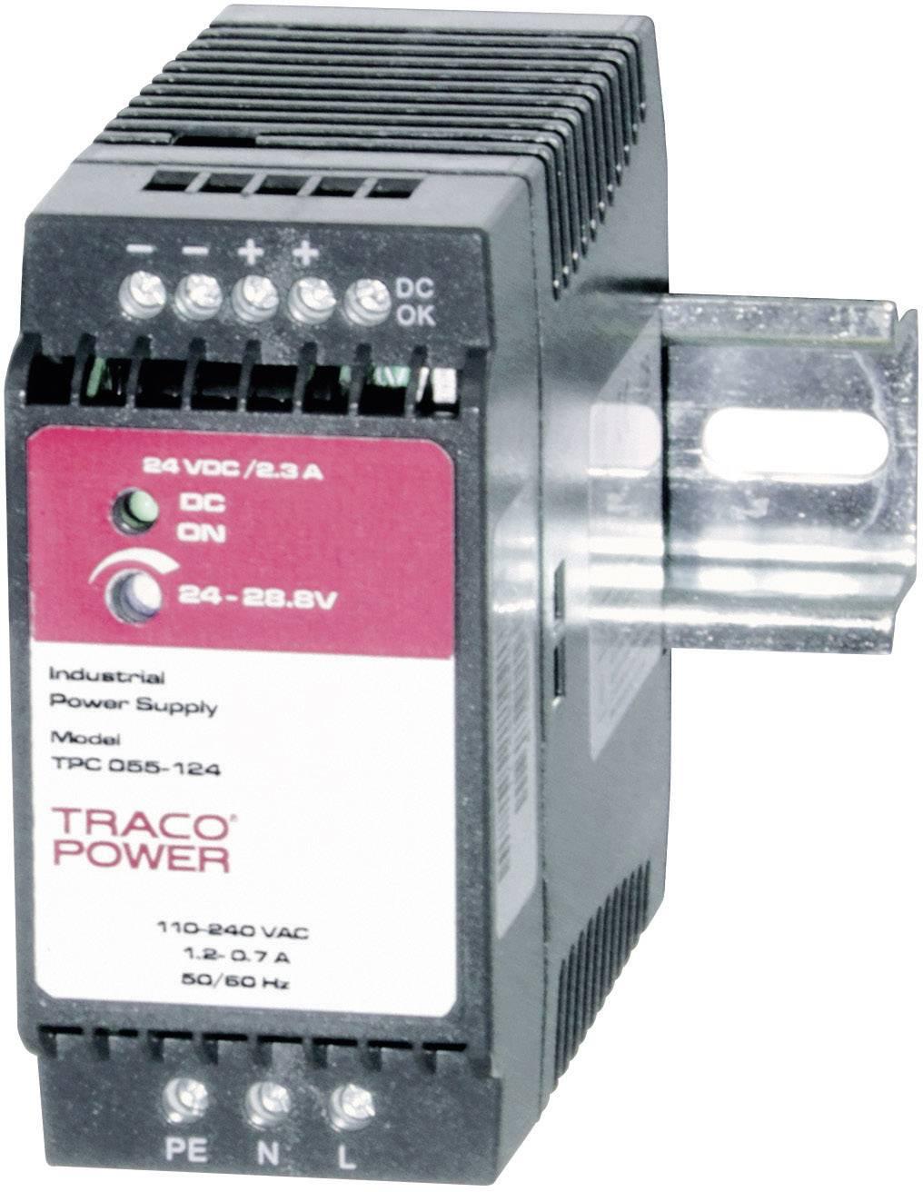 Zdroj na DIN lištu TracoPower TPC 055-124, 24 - 28,8 V/DC, 2,3 A