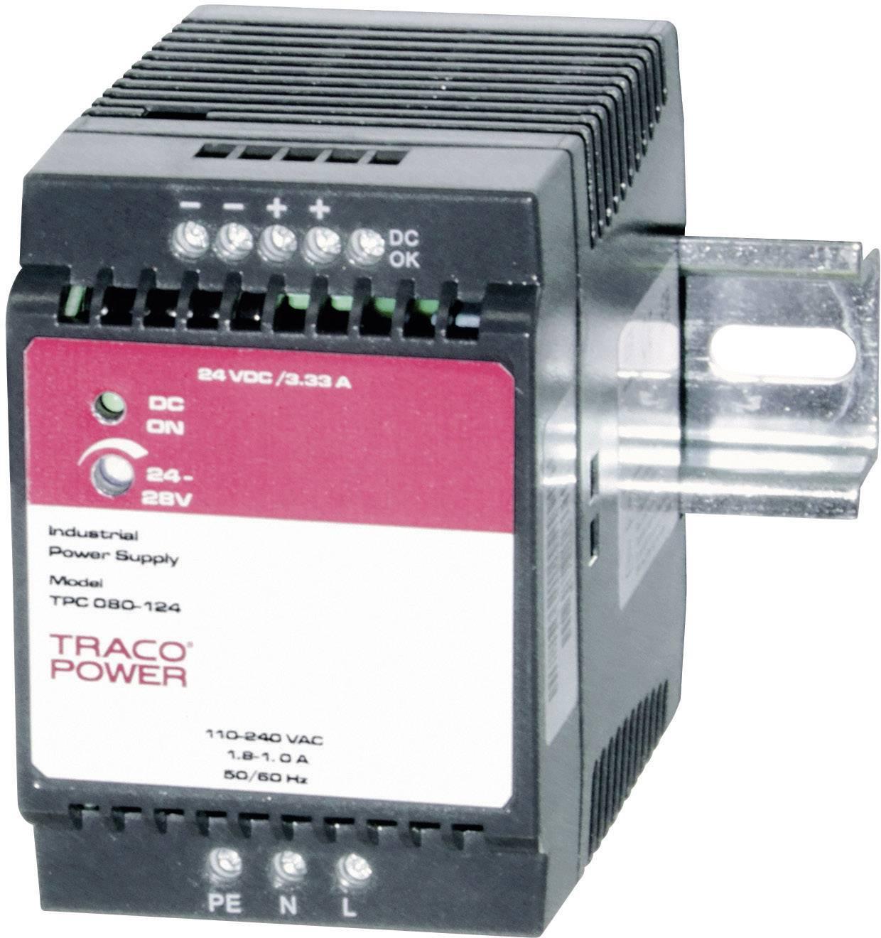 Zdroj na DIN lištu TracoPower TPC 080-124, 24 - 28,8 V/DC, 3,3 A