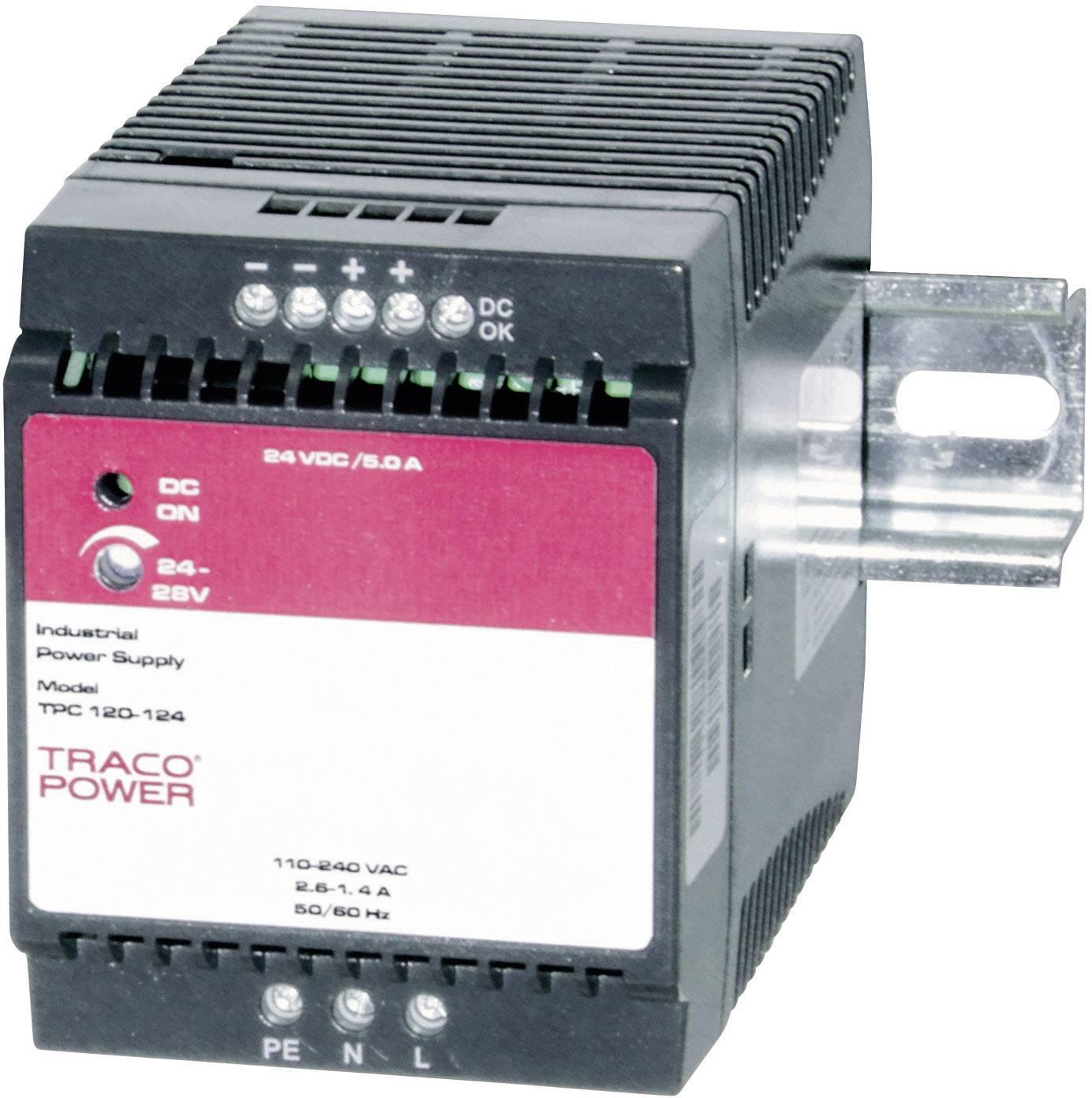 Zdroj na DIN lištu TracoPower TPC 120-124, 24 - 28,8 V/DC, 5 A