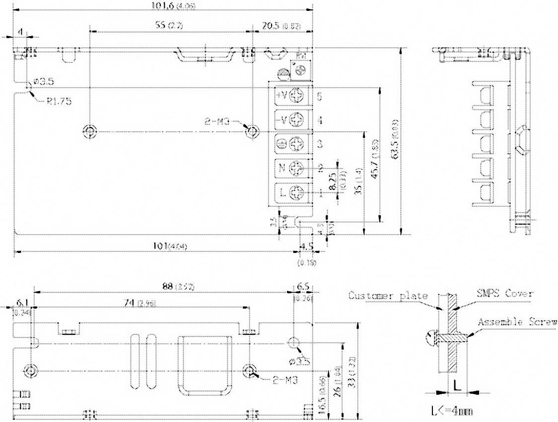 Vestavný napájecí zdroj TracoPower TXM 035-148, 35 W, 45,6 - 52,8 V/DC