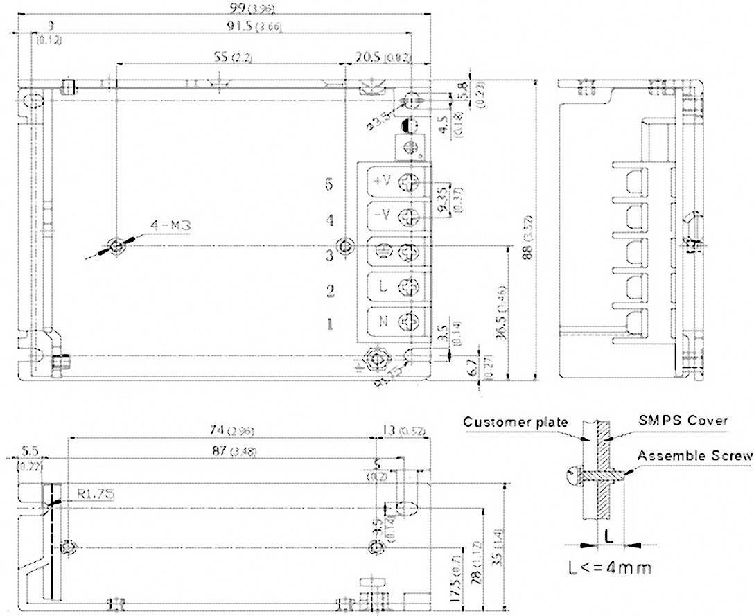 Vestavný napájecí zdroj TracoPower TXM 050-105, 50 W, 4,7 - 5,5 V/DC