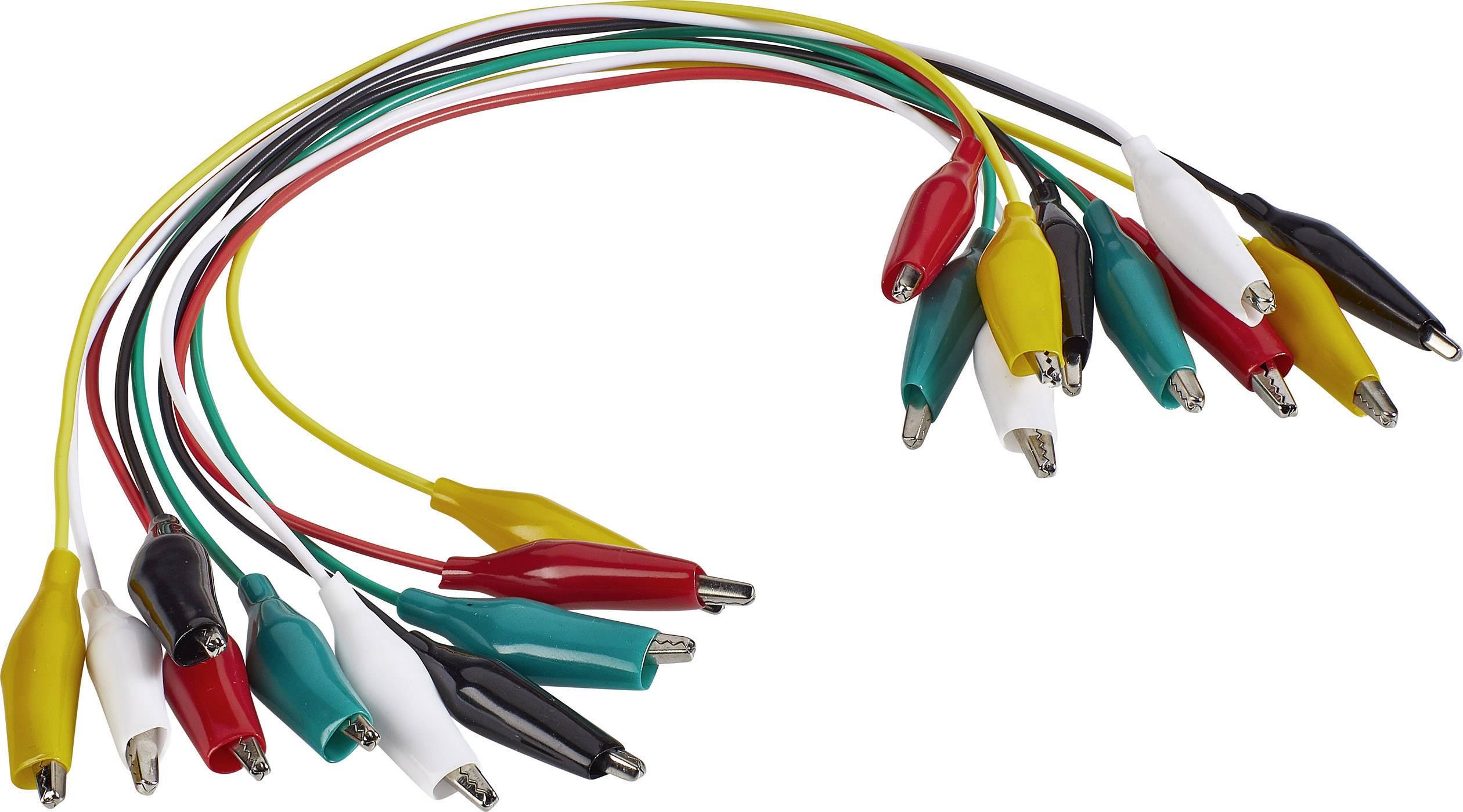 Sada měřicích kabelů krokosvorka ⇔ krokosvorka Voltcraft KS-280/0.1, 0,28 m, 10 ks