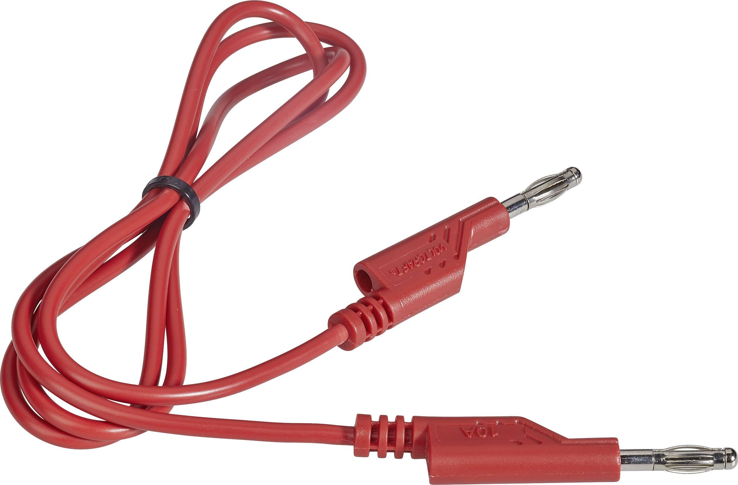 Sada měřicích kabelů banánek 4 mm ⇔ banánek 4 mm Voltcraft, 1 m, červená