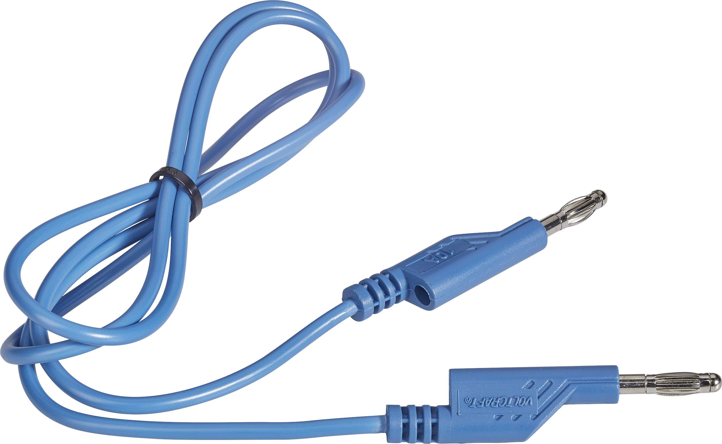Sada měřicích kabelů banánek 4 mm ⇔ banánek 4 mm Voltcraft, 1 m, modrá