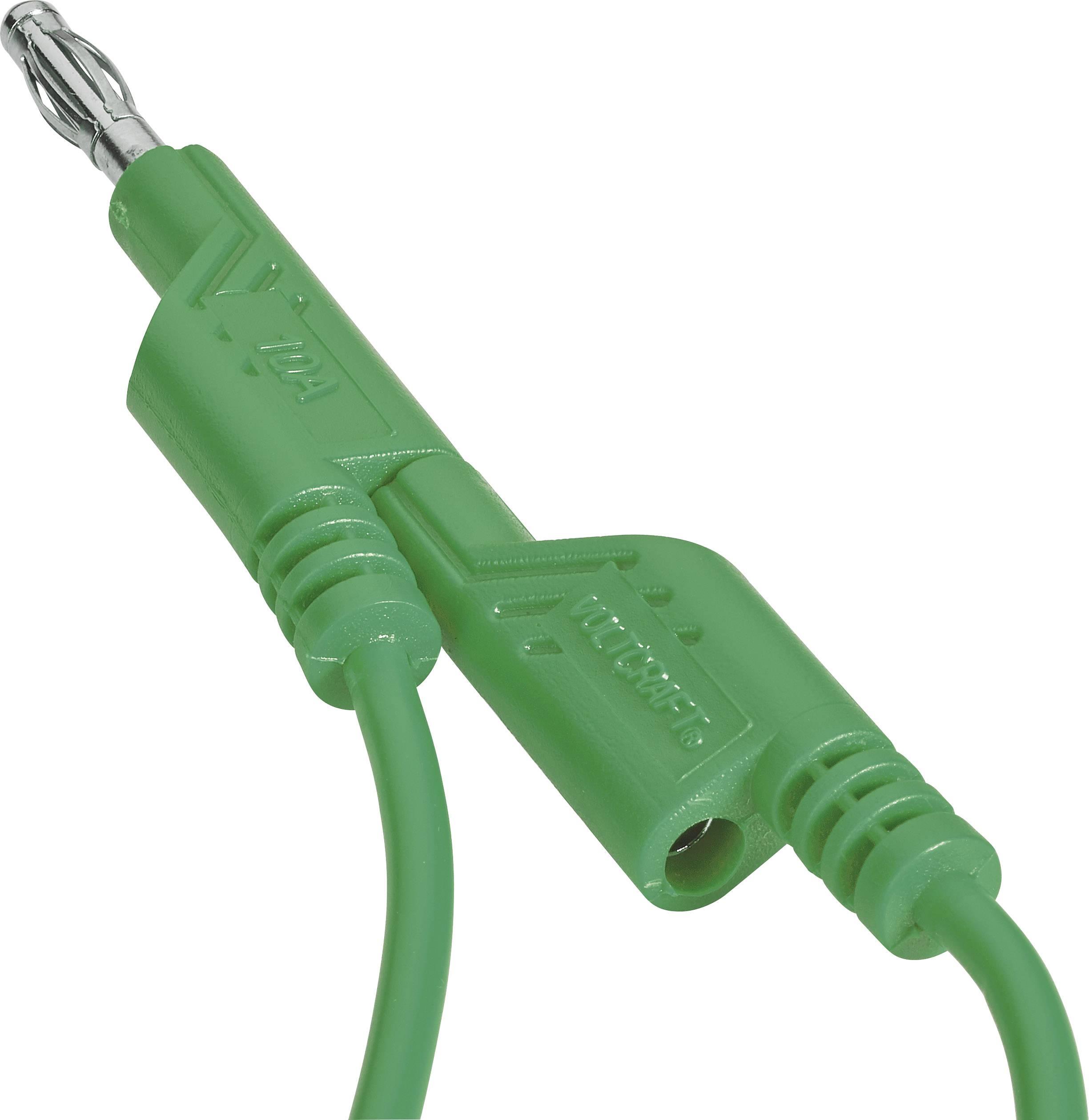Sada měřicích kabelů banánek 4 mm ⇔ banánek 4 mm Voltcraft, 1 m, zelená