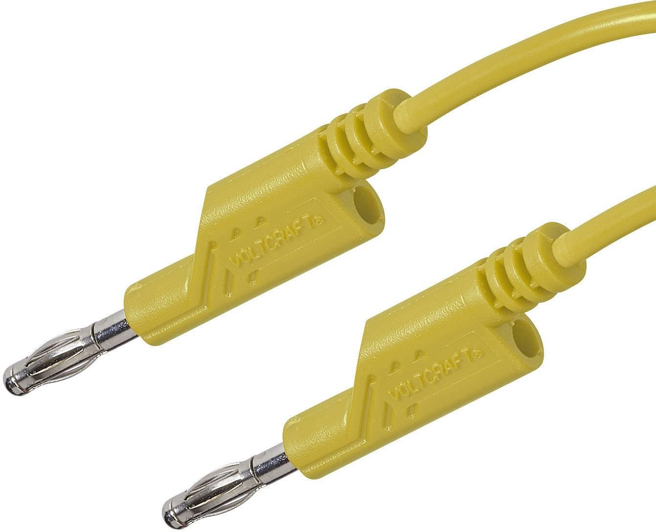 Sada měřicích kabelů banánek 4 mm ⇔ banánek 4 mm Voltcraft, 1 m, žlutá