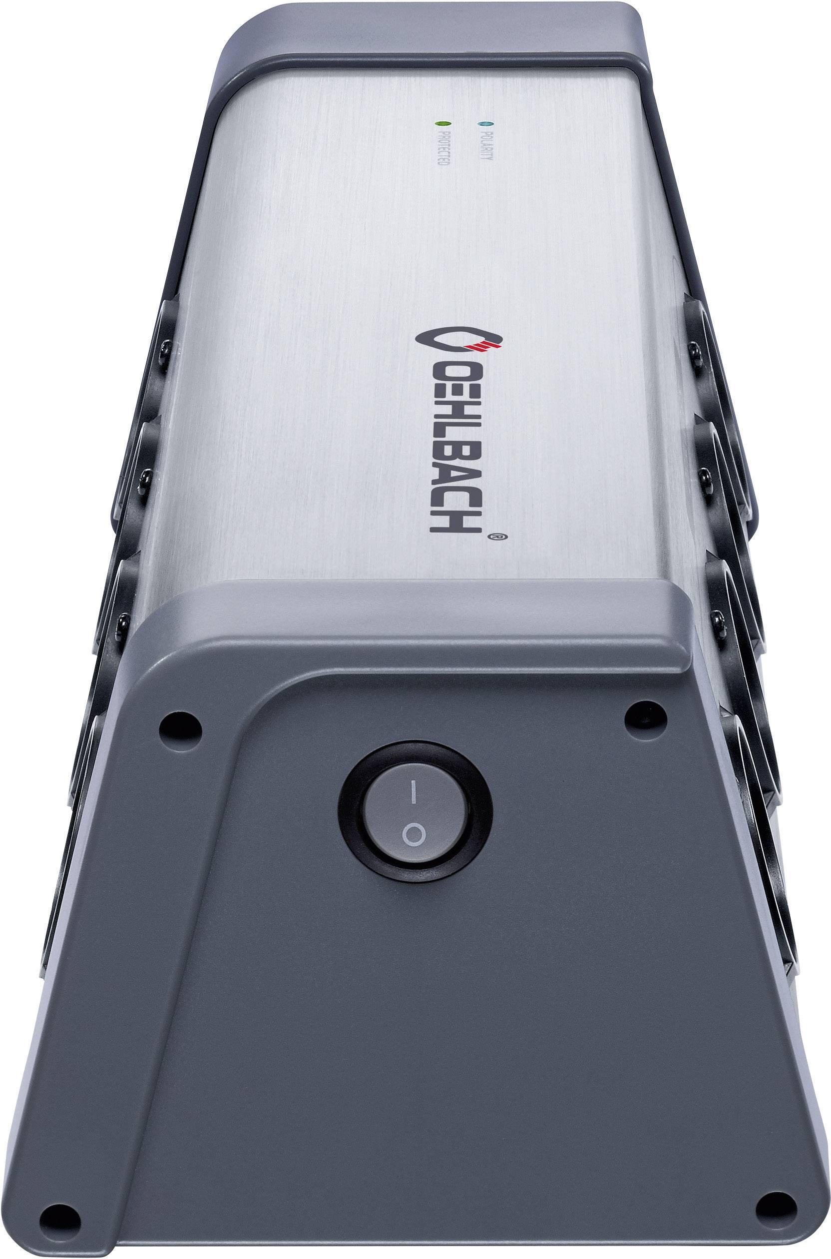 Zásuvková lišta s prepäťovou ochranou Oehlbach, 8 zásuviek, strieborná/šedá, D1C13040