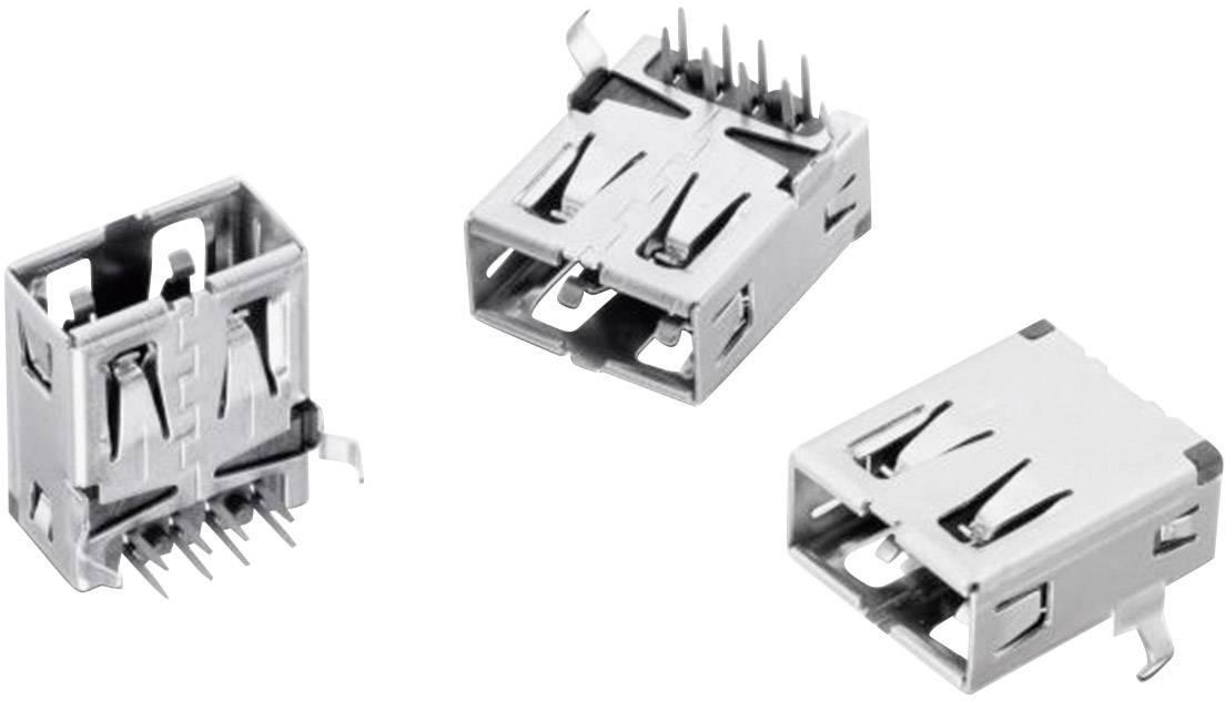 USB konektor Würth Elektronik WR-COM 614108247221, USB 2.0, zásuvka, do DPS, úhlová, 1 ks