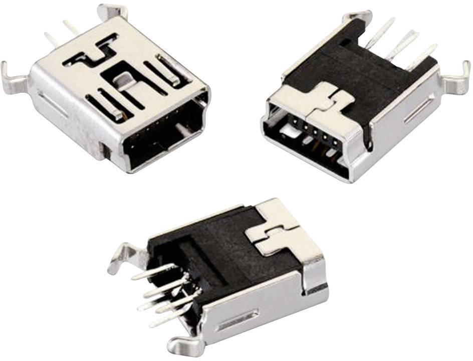 USB 2.0 zásuvka, vstavateľná vertikálna Würth Elektronik N/A 651005136421, čierna, 1 ks