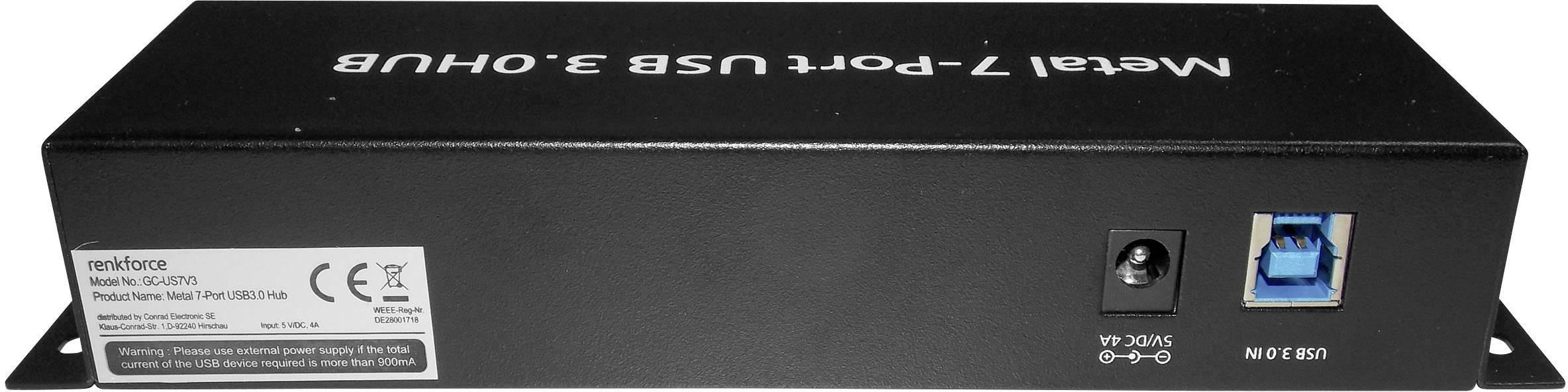 USB 3.0 hub Renkforce RF-3269622 1089874, 7 portů, 55 mm ...