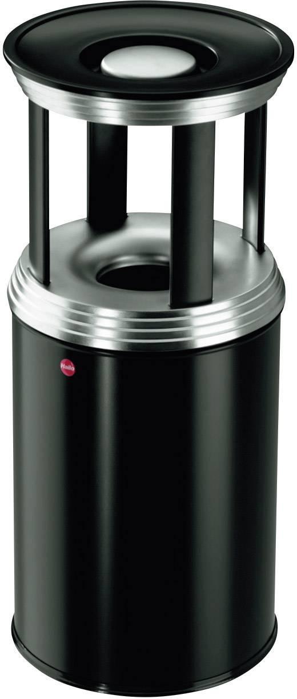 Odpadkový koš s popelníkem Hailo ProfiLine Combi pro L, 740 mm, Vnější Ø 330 mm, 30 l, sytě černá, stříbrná